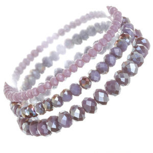 Jewelry - Purple Crystal and Bead Stackable Stretch Bracelet